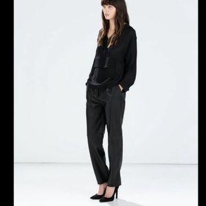 Zara Faux Black Leather Trousers EUC